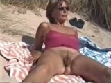 Mom with Hairy Pussy Filmed Nude on the Public Beach