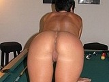 Nude Mature Wife Bending Over on the Pool Table Photos