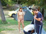 Mature Woman Nude in Camping Photo