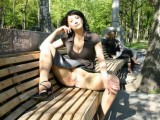 Hot Russian Wife Flashes Pussy in Public Park Photo