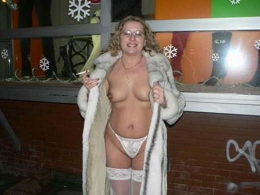 Mature Older Woman Reveals Nude Body under Fur Coat Photo