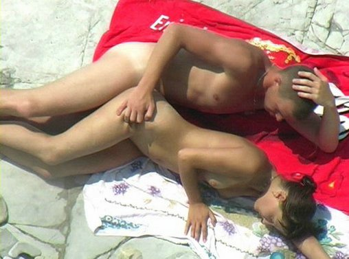 Young Amateur Couple Fucking on Beach Photo