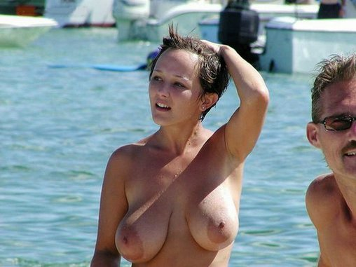 Hot Nude Woman with Big Boobs at the Beach Photos
