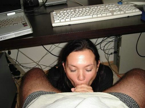 Lovely Wife Sucks Fully Husbands Cock under the Desk Hot Photo