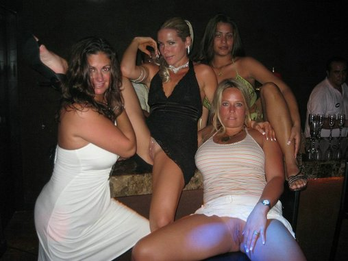 Drunk Women Flashing Pussy in Party Club Photos
