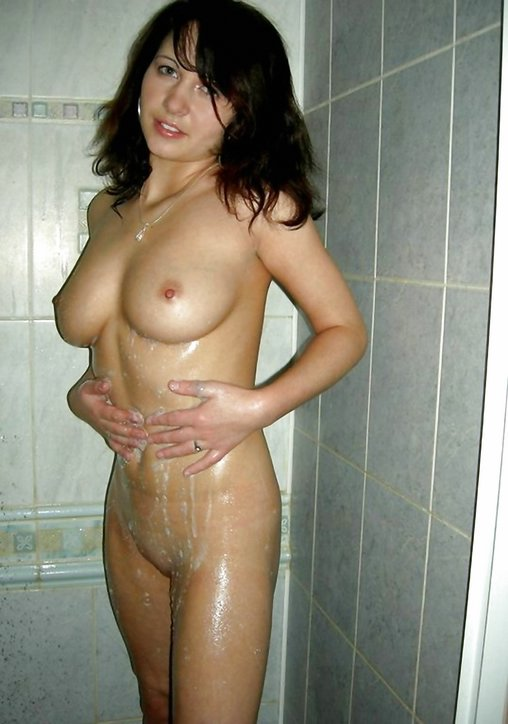 Mature women showering naked