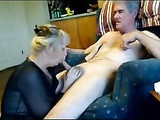 Amateur Mature Blowjob on Sofa with Wife Enjoying Sucking