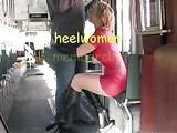 Sexy Wife in Latex and High Heels Boots Sucks Cock in Tram
