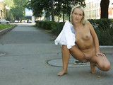 Blonde Russian Wife Shows Nude Body in Public Photo