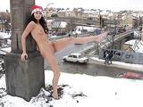 Cute Hot Woman Posing Nude in Winter Photo