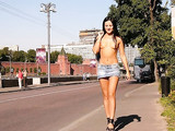 Russian Sexy Lady Walks Topless in Moscow Photo