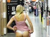 Blonde Wife Flashes Ass in Hypermarket Photo
