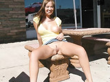 Sexy Amateur Wife Flashes Pussy in a Public Place Photos