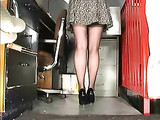 Office Lady Shows Sexy Stockings Upskirt on Hidden Camera
