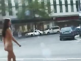 Hot Woman Walking Naked in Various Real Public Places