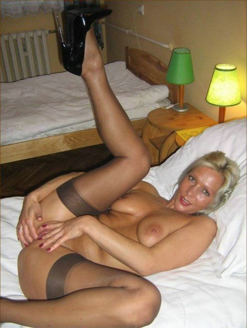 Milf in black nylons