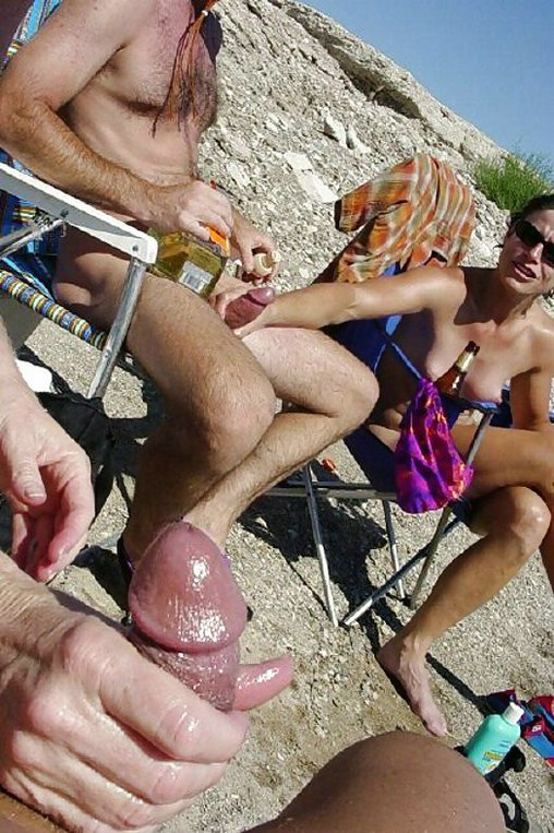 Mature amateur handjob beach