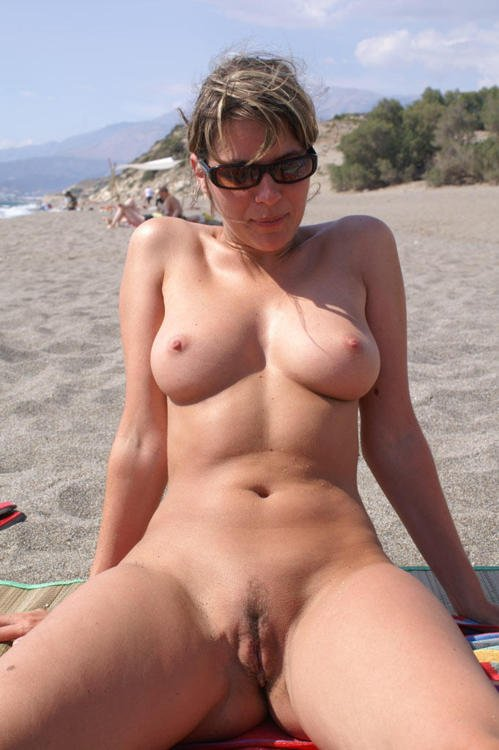 Beach on mature mom the