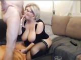 Busty Blonde Mom Blowjob and Sex on Camera