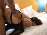Hot mature mom in black stockings fucking with dad in hotel
